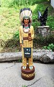 John Gallagher Carved Wooden Cigar Store Indian 4 Ft. In Beautiful Fine Details
