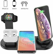 4in1 Qi Wireless Charger Fast Charging Dock Stand For Apple Watchandiphoneandsamsung