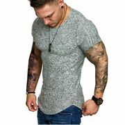 Mens Gym Short Sleeve Muscle Tee Tops T-shirt Blouse Casual Crew Neck Slim Fit B
