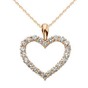 1ct April Birthstone Real Diamond Heart Pendant 18 Chain 14k Solid Rose Gold
