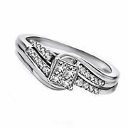1/3 Ct Natural Diamond Engagement Ring Set In 10k Solid Gold
