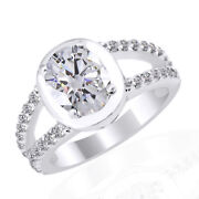 3.30 Ct Simulated Round Cut Solitaire Engagement Ring 14k White Gold