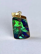 Spectacular Strong Blue Green Solid Boulder Opal Pendant 18ct Gold Val 7,890