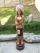 John Gallagher Carved Wooden Cigar Store Indian 4 Ft.tall Very Detailed Buffalo