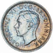 1945 Great Britain 6 Sixpence Silver Stunning Light Blue Toned Color Bu Unc Dr