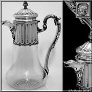 Antique French Sterling Silver And Crystal Serving Decanter, Pitcher Neoclassical
