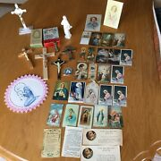 Large Vintage Lot Of Religious Holy Cards, Crucifixes, Candles, More