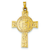 14k Yellow Gold Us Air Force Insignia Medal On Cross Charm Pendant Msrp 682