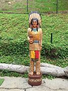 John Gallagher Carved Wooden Cigar Store Indian 4 Ft.tall In Very Detailed