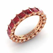 Certified 3.64 Ct Princess Cut Ruby And Diamond Eternity Band Ring 10k Rose Gold