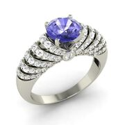 Engagement Ring In Solid 925 Sterling Silver With 1.59 Cttw Tanzanite And Diamond