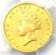1855-o Type 2 Indian Gold Dollar G1 Coin - Pcgs Xf40 Ef40 - 1,350 Value