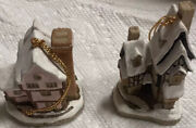 Vtg David Winter Cottages Christmas Ornaments Pair Fred's Home, Suffolk House