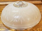 Circa 1920 Art Deco Frosted Glass Dome Flush Mount Pendant Light Shade