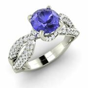 1.60 Ct Natural Aaa Tanzanite And Si Diamond 14k Solid White Gold Engagement Ring