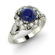 Certified 1.12 Ct Blue Sapphire And Si Diamond Engagement Ring In 14k White Gold