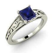 Certified 0.85ct Princess Natural Blue Sapphire Vintage Inspired Engagement Ring