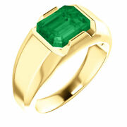 Emerald Chatham® Created Gem Solitaire Mens Ring 14k Yellow Gold Size 11 Sizable
