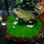 Rucinni Bull Frog With Lily Pad Trinket Box Crystallized With