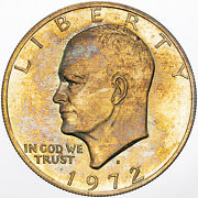 1972-s Eisenhower Ike Dollar Silver Proof Color Unc Flawless Toned Bu Dr