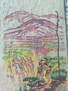Vintage New Years Day Wood Painted Yucca Wood Of Moods Pink Mountains Trees