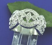 Antique Wide Band 0.70 Ct 18k White Gold Ladies Natural Diamond Ring Cocktail