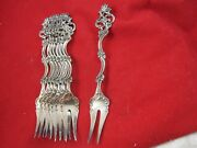 Norwegian Norway Th Marthinsen 830 Silver Fancy Pattern Pickle Forks C1960and039s