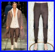 F/w 2015 Look 37 Versace Brown Leather Lounge Sport Pants Size 48 - 32 M