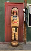 John Gallagher Carved Wooden Cigar Store Indian Statue 6 Ft. Tall White Buffalo