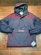 Columbia Lodge Insulated Pullover Jacket Maroon Gray 1/2 Zip Hood Pocket Mens M