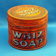 Vintage Whiz Soap Dayton Ohio 1930and039s Tin Can With Screw-on Lid