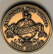 1924-1981 New Orleans Mardi Gras Doubloon Around The World With Songs Coin Mr
