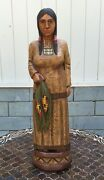 John Gallagher Carved Wooden Cigar Store Indian 5 Ft. Tall Statue Corn Maiden