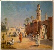 Antique Orientalist Oil Painting G. Chavignaud 1865-1944 Mosque Characters