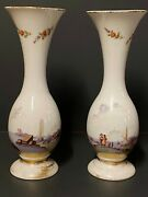 A Pair Of Opaque, Drop Shaped, Gilded And Painted White Opaline Glass Vases
