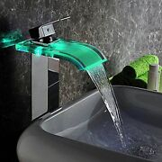 Us Chrome Glass Bathroom Waterfall Basin Faucet Led 3 Color Spout Sink Mixer Tap