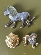 Vintage Lion Jewelry Lion Gold Tone Rhinestone Brooch Pins And Gold Lion Head