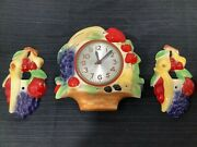 Vtg Sessions Midcentury Kitchen Fruit Basket Electric Wall Clockandswitch Plates