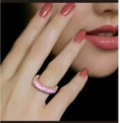 Last Call Nwt 3408 Rare 18kt Gold Fancy Emerald Cut Pink Sapphire Band Ring