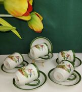 J.b.n.y Bavaria Coffee Cups And Saucers - Set Of 5 Green Blue Bird On A Tree