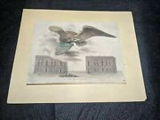 W Birch State House Garden Phila - 1st State Colored 1800 Engraving Laid Paper
