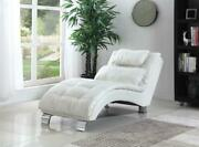 Pillow Top Leather Like White Chaise Recliner Reclining Chair And Accent Pillow