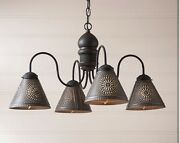 Cambridge 4 Arm Wood Country Chandelier In Americana Black. Country Lighting