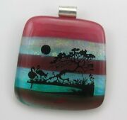 Scenic Fused Glass Pendant, Birds, Trees, Dichroic Accents, Large Size,p940, P4s