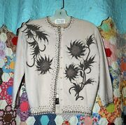 ❤️vintage Beaded Sweater 1950's Creme/bronze Beads Flowers Pearl Buttons