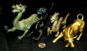 3 Large Solid Brass Chinese Dragon Statues- And One Bull Statue