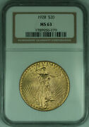 1928 Gaudens 20 Double Eagle Gold Coin Ngc Ms-63 B