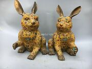 Pair 16and039and039red Copper Gold Cloisonne Enamel Flower Design Animal Hare Rabbit