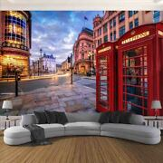 Red Phone Booth City 3d Full Wall Mural Photo Wallpaper Printing Home Kids Decor