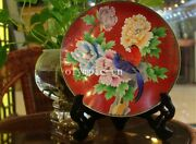 10and039and039pure Red Copper Cloisonne Enamel Flowers Peony Birds Design Home Decor Plate